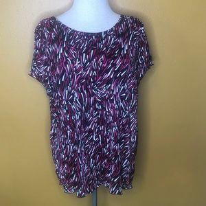 Dress Barn Woman Pink & Black Short Sleeve Top